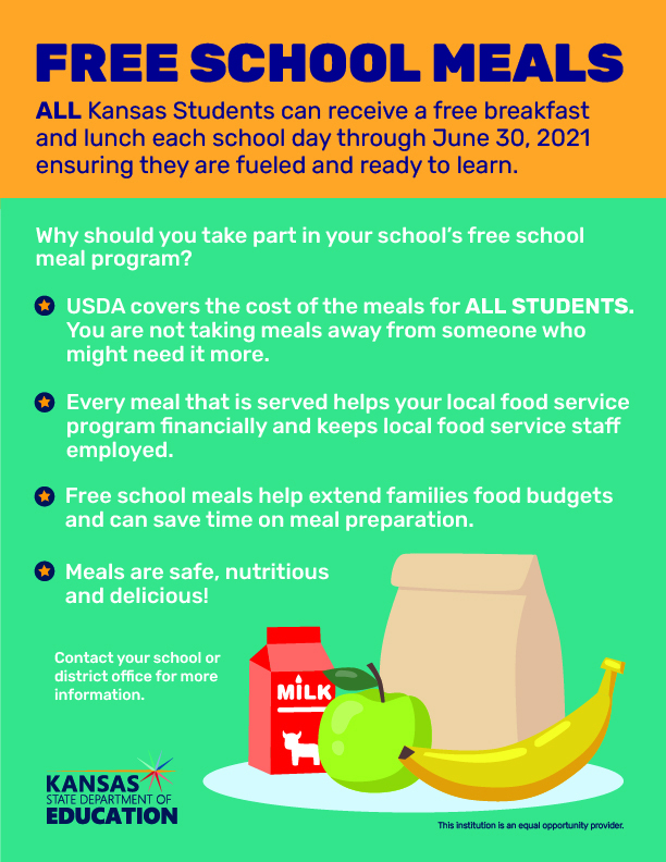 Food Service Reminder: Free Meals Provided by USD 289