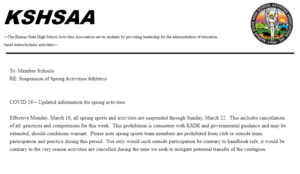 KSHSAA Spring Sports / COVID-19 Update