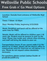 "Free ""Grab and Go"" meal options begin Monday, March 23rd."