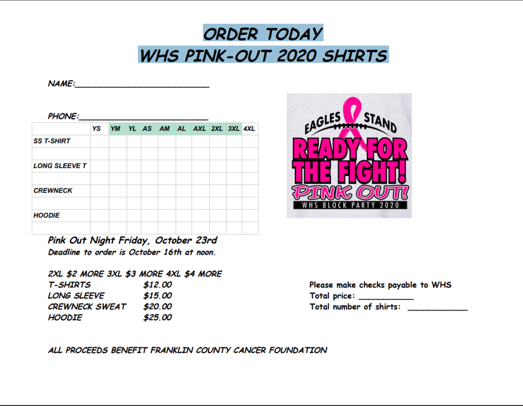 2020 WHS PINK OUT ORDER FORM
